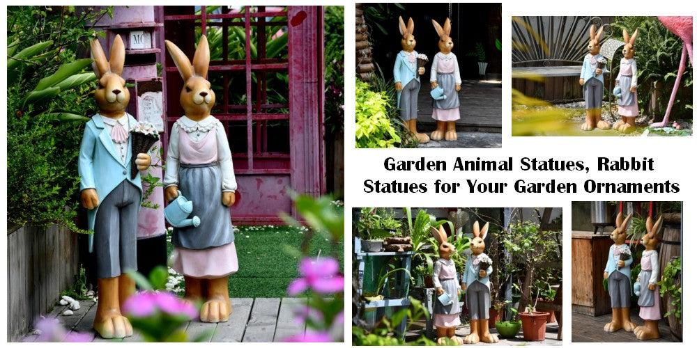 Large Resin Animal Statues for Garden Ornaments Rabbit Statues for Outdoor Decor