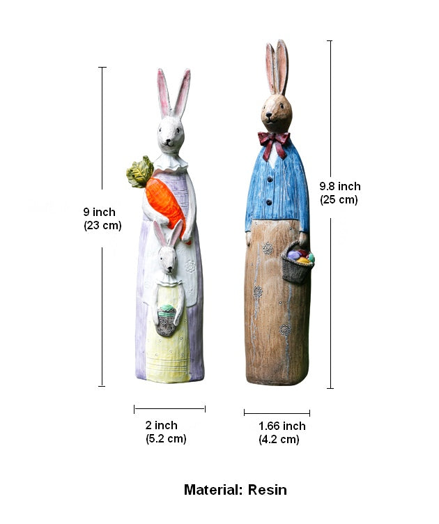Rabbit Couple in the Garden, Rabbit Resin Statue for Garden Ornament, Lovely Rabbits Statues, Outdoor Decoration Ideas, Garden Ideas