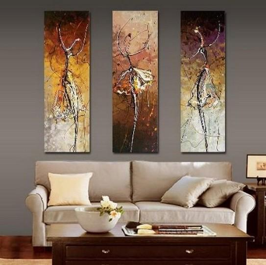 Ballet Dancer Painting, Bedroom Wall Art Paintings, Abstract Acrylic Art, Modern Abstract Painting, 3 Piece Wall Art Painting