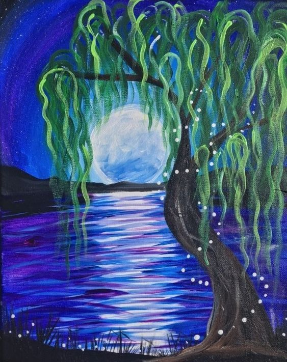 Easy Landscape Painting Ideas for Beginners, Easy Tree Painting Ideas, Simple Canvas Painting Ideas, Easy Modern Wall Art, Easy Moon Painting Ideas