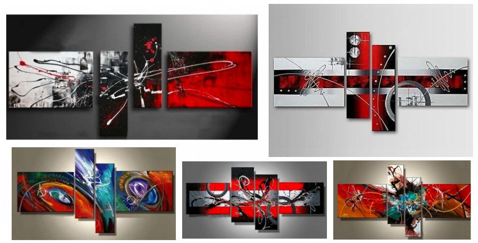 Multiple Canvas Painting Ideas, 4 Piece Wall Paintings, Acrylic Paintings for Living Room, Modern Wall Art Paintings