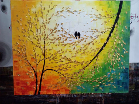 love birds painting, singing birds art, acrylic painting 32x40 inch