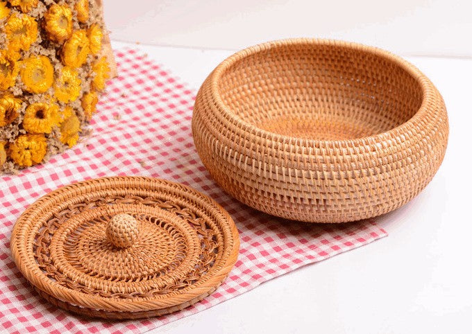 Woven Storage Basket with Lid, Lovely Rattan Round Storage Basket, Round Storage Basket for Kitchen