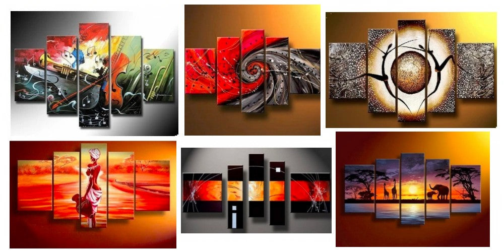 5 Piece Wall Art, Multiple Canvas Paintings, Modern Contemporary Paintings, Large Paintings for Living Room