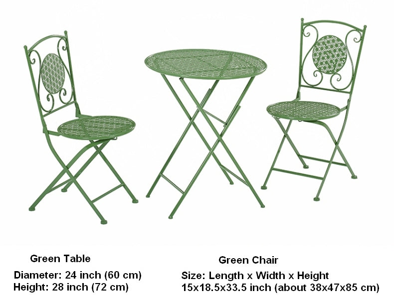 Green Iron Foldable Chairs and Table for Garden, Villa Courtyard Garden Table and Chairs, Garden Ideas
