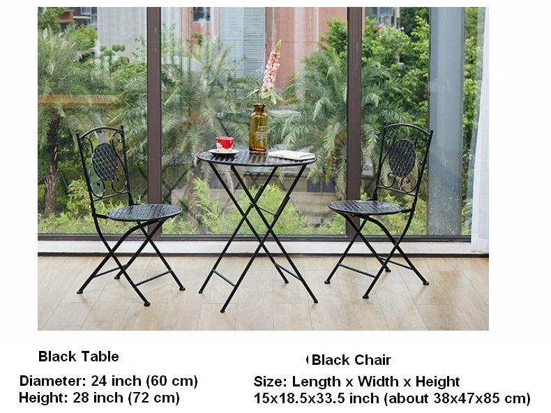 Black Iron Foldable Chairs and Table for Garden, Villa Courtyard Garden Table and Chairs, Garden Ideas