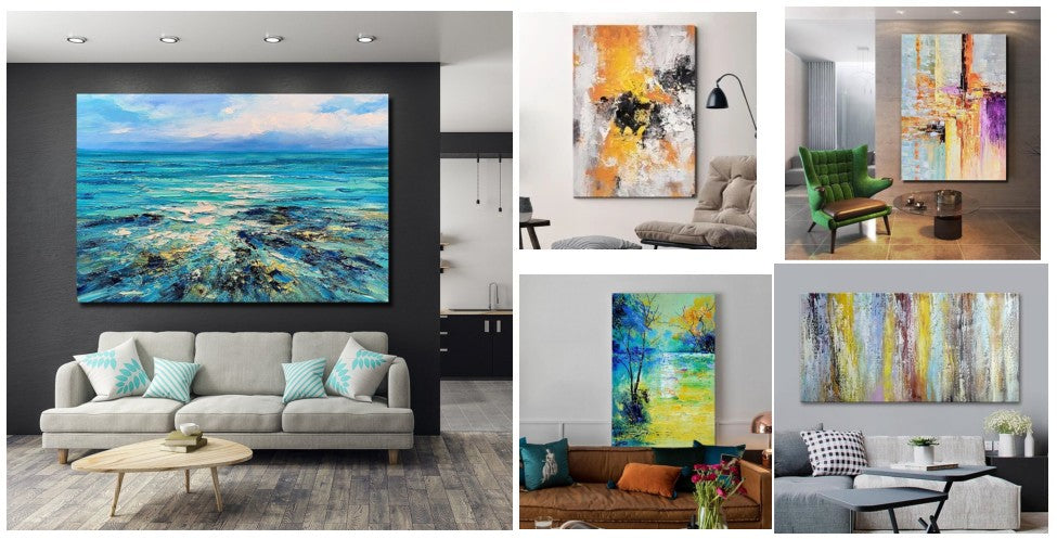 Simple Modern Art, Modern abstract paintings for living room, living room wall art ideas, hand painted canvas art