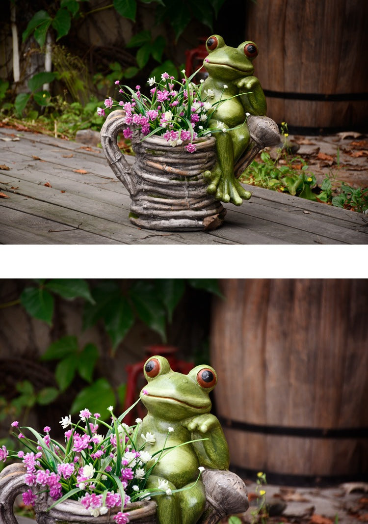 Lovely Frogs Flower Pot, Frog Statues, Animal Statue for Garden Ornament, Villa Courtyard Outdoor Decoration, Garden Ideas