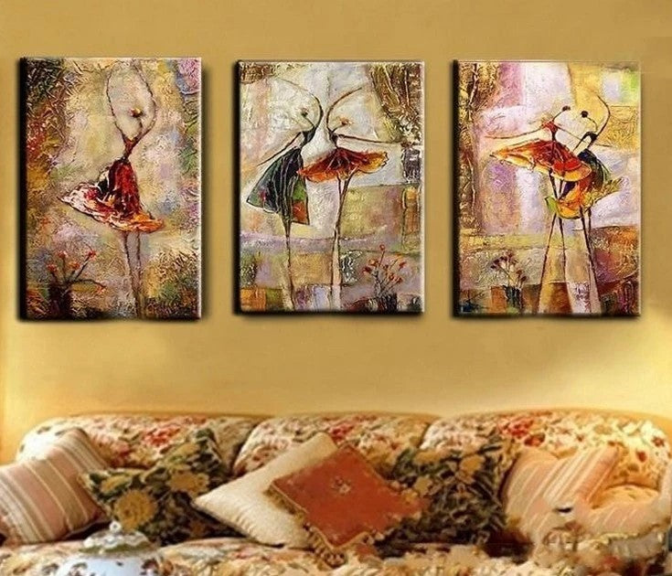 Abstract Art on Canvas, Ballet Dancer Painting, Canvas Painting for Bedroom, 3 Panel Wall Art Paintings, Buy Art Online