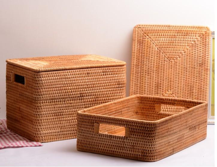 Woven Rectangular Rattan Basket with Lid, Extra Large Rattan Storage Baskets for Shelves