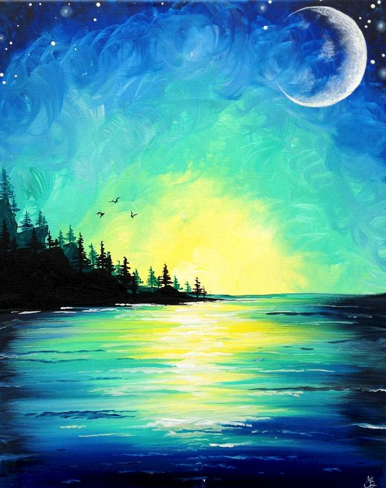 50 Easy DIY Canvas Paintings, Moon Bird Painting, Easy Landscape Painting Ideas for Beginners, Simple Oil Painting Techniques