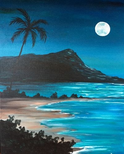 50 Easy DIY Canvas Paintings, Easy Landscape Painting Ideas for Beginners, Moon Seascape Painting, Simple Oil Painting Techniques