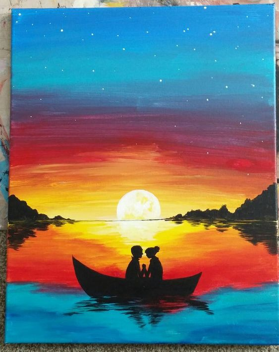 50 Easy DIY Canvas Paintings, Easy Landscape Painting Ideas for Beginners, Sunset Paintings, Simple Oil Painting Techniques