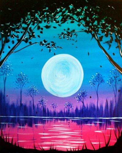 50 Easy DIY Canvas Paintings, Moon Tree Painting, Easy Landscape Painting Ideas for Beginners, Simple Oil Painting Techniques