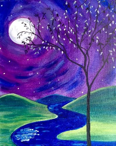50 Easy DIY Acrylic Painting Ideas, Easy Landscape Painting Ideas for Beginners, Moon Tree Painting, Simple Oil Painting Techniques