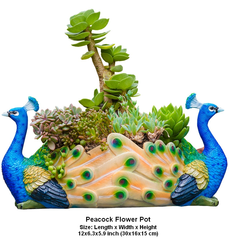 Peacock Flower Pot in the Garden, Peacock Bird Resin Flower Pot for Garden Ornament, Outdoor Decoration Ideas, Garden Ideas
