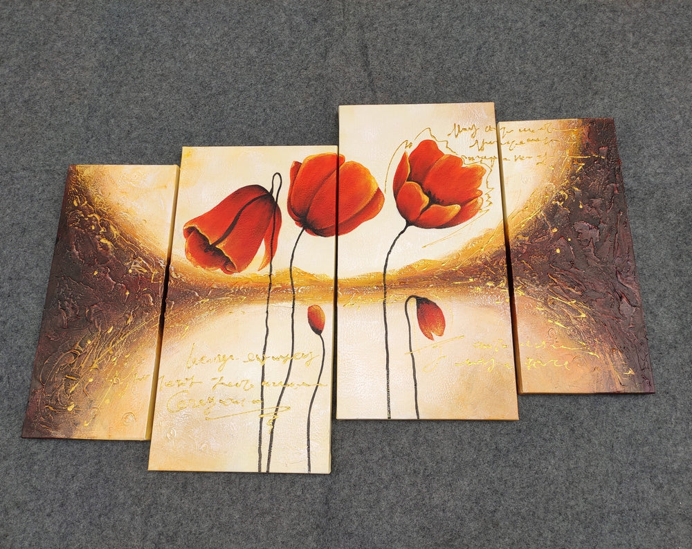 Red Tulip Flower Painting, Acrylic Flower Painting, Canvas Painting for Bedroom, Buy Paintings Online