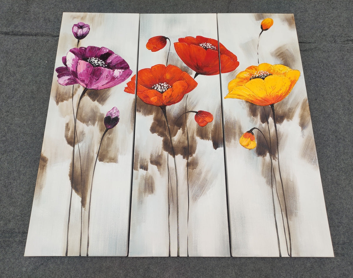 Acrylic Flower Painting, Hand Painted Canvas Art, 3 Piece Wall Art, Painting Ideas for Living Room