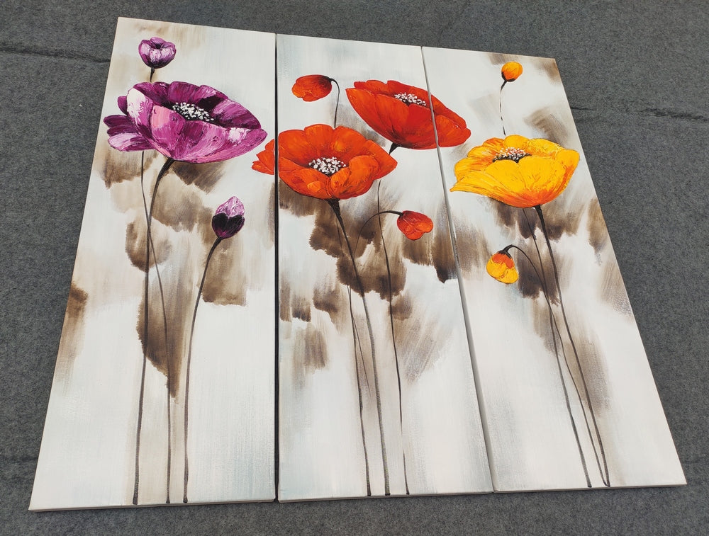 Abstract Flower Painting, Hand Painted Art, 3 Piece Canvas Art, Painting Ideas for Bedroom