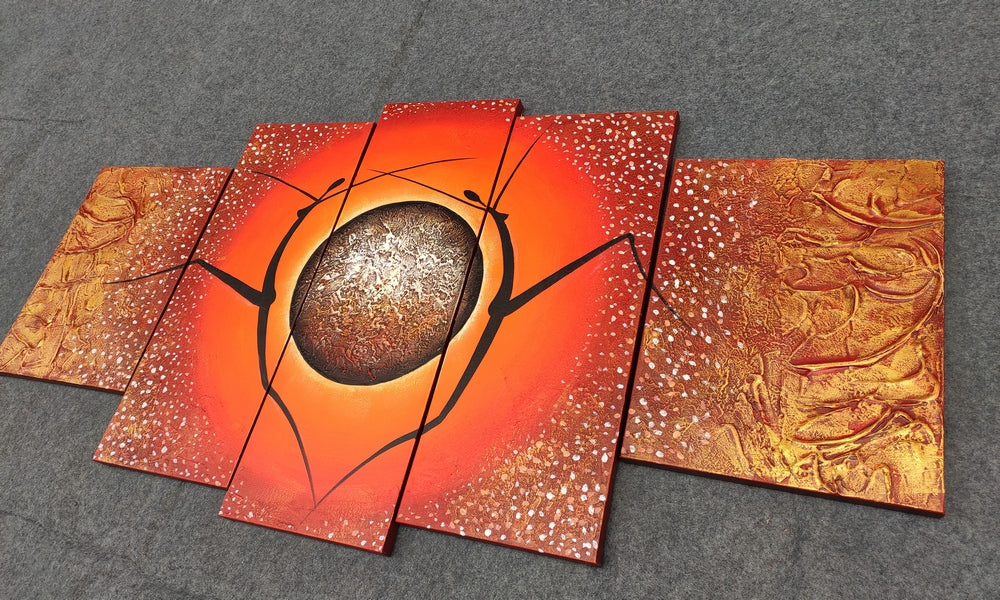 5 Piece Abstract Art Painting, Canvas Painting for Bedroom, Acrylic Art for Sale, Huge Wall Painting