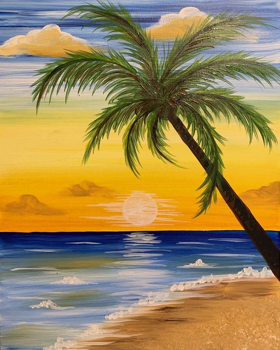 Easy Landscape Painting Ideas for Beginners, Sunset Painting, Easy Tree Painting Ideas, Simple Canvas Painting Ideas, Easy Modern Wall Art, Easy Acrylic Painting Ideas