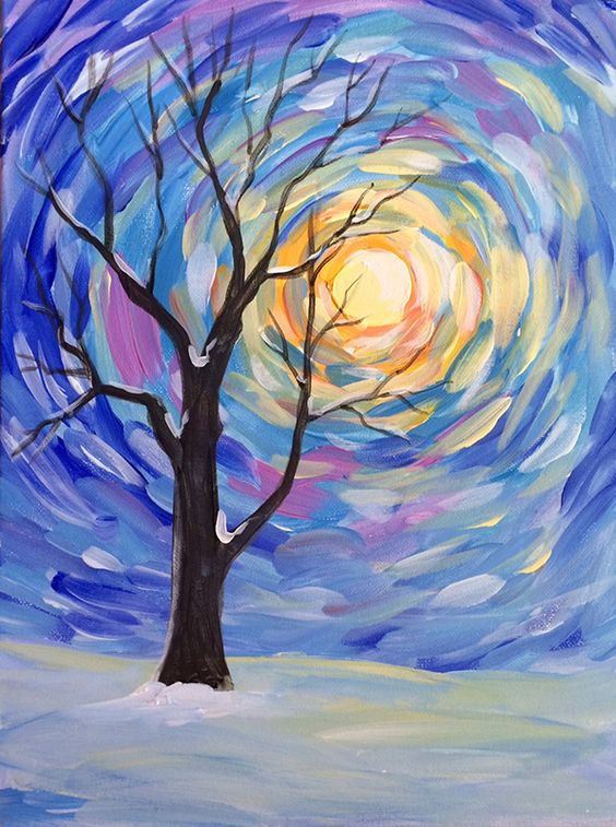 Easy Landscape Painting Ideas for Beginners, Easy Winter Paintings, Easy Tree Painting Ideas, Simple Canvas Painting Ideas, Easy Modern Wall Art, Easy Acrylic Painting Ideas