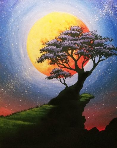 Easy Landscape Painting Ideas for Beginners, Easy Tree Painting Ideas, Simple Canvas Painting Ideas, Easy Modern Wall Art, Moon Painting, Tree Paintings, Easy Acrylic Painting Ideas