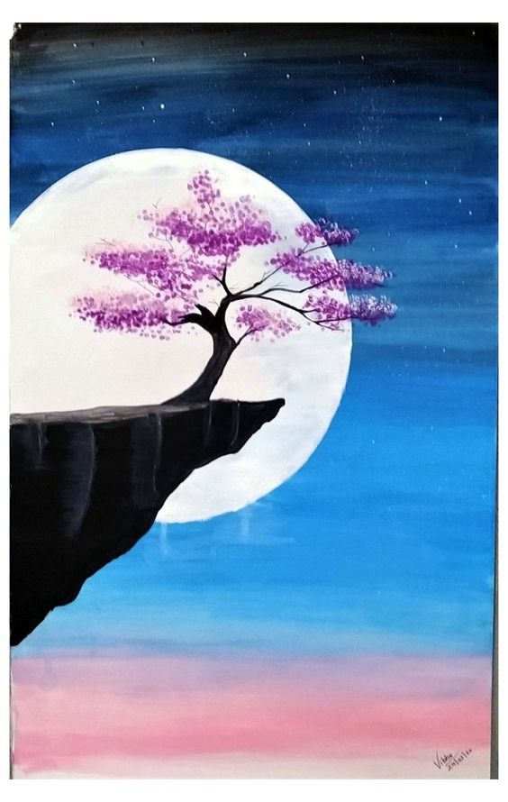 Easy Landscape Painting Ideas for Beginners, Easy Tree Painting Ideas, Simple Canvas Painting Ideas, Easy Modern Wall Art, Moon Painting, Tree Painting, Easy Acrylic Painting Ideas