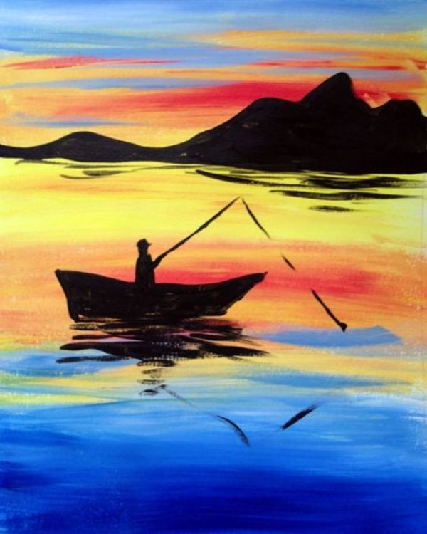 Fishing Painting, Sunset Painting, Easy Landscape Painting Ideas for Beginners, Easy Tree Painting Ideas, Simple Canvas Painting Ideas, Easy Modern Wall Art, Easy Acrylic Painting Ideas