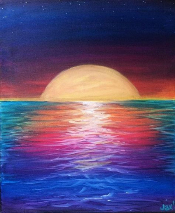 Easy Landscape Painting Ideas for Beginners, Sunrise Painting, Easy Tree Painting Ideas, Simple Canvas Painting Ideas, Easy Modern Wall Art, Easy Acrylic Painting Ideas