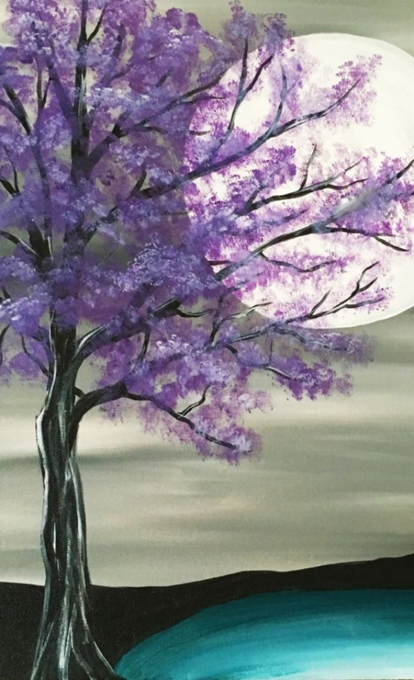Moon Painting, Easy Tree Painting, Easy Landscape Painting Ideas for Beginners, Easy Tree Painting Ideas, Simple Canvas Painting Ideas, Easy Modern Wall Art, Easy Acrylic Painting Ideas