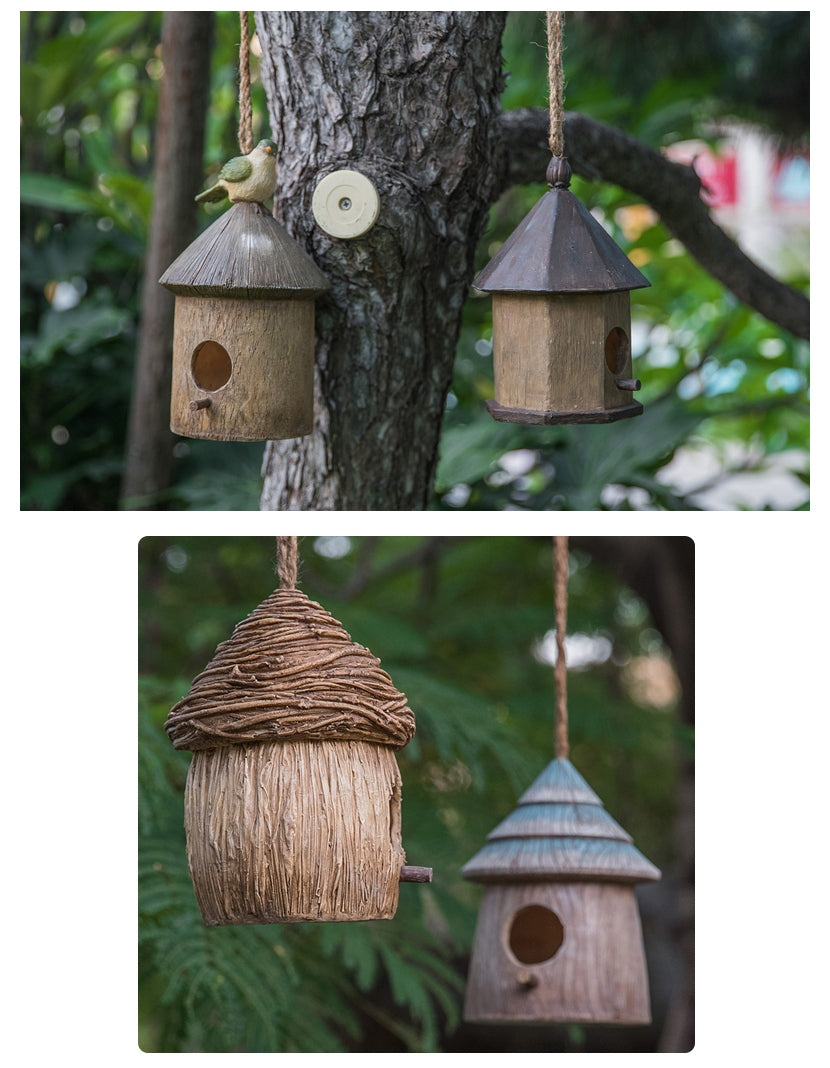 Bird House in the Garden, Resin Bird Nest for Garden Ornament, Lovely Birds House, Outdoor Decoration Ideas, Garden Ideas