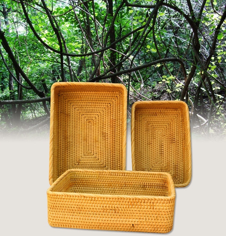Rectangle Woven Basket, Vietnam Traditional
