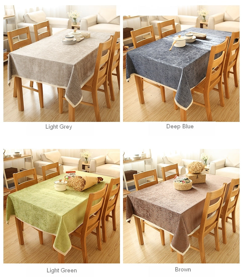Flocked Light Grey/Deep Blue/Light Green/Brown Tablecloth