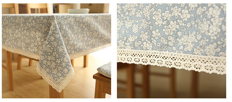 Light blue small calico cotton tablecloth