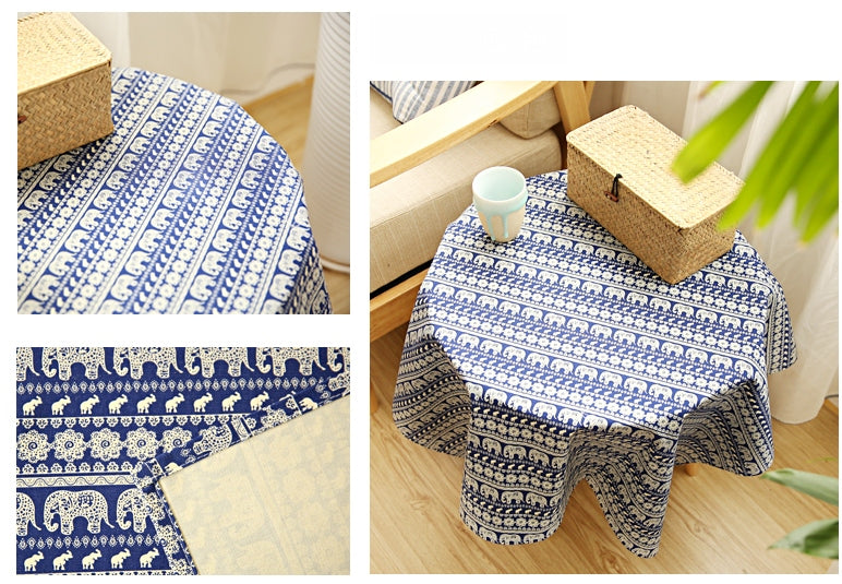 Blue Elephant Pattern Rectangle and Round Tablecloth