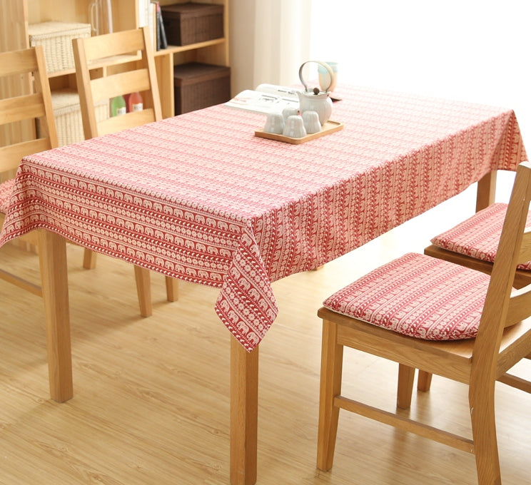 Red Elephant Pattern Rectangle and Round Tablecloth