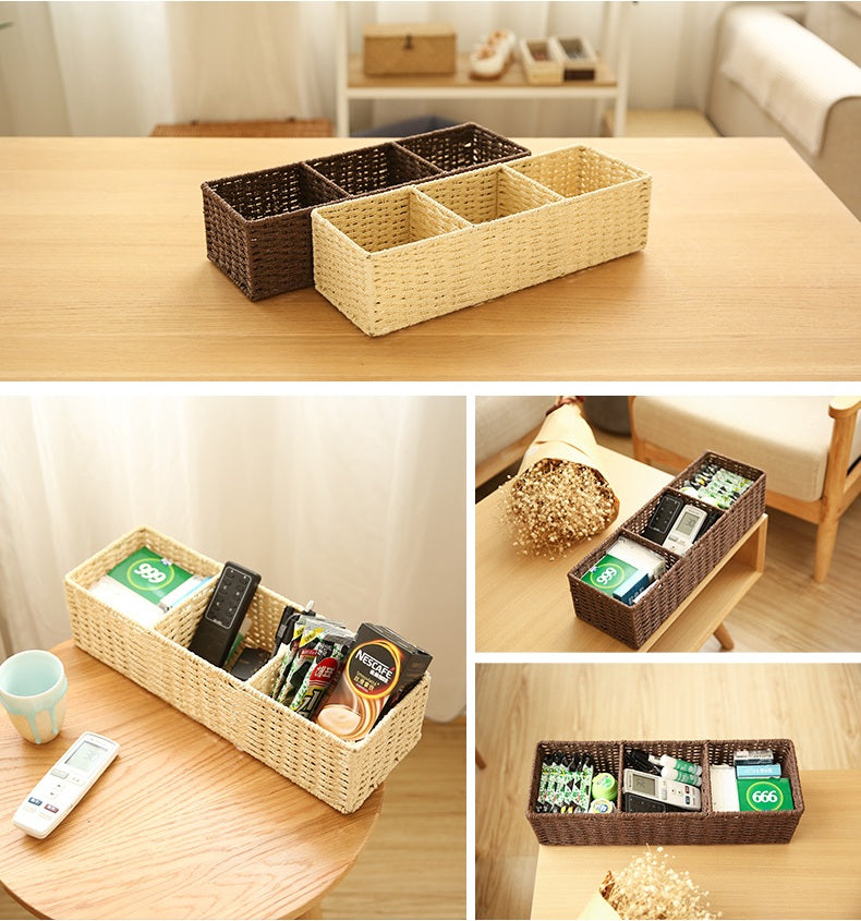 Woven Straw basket with 3 Compartments