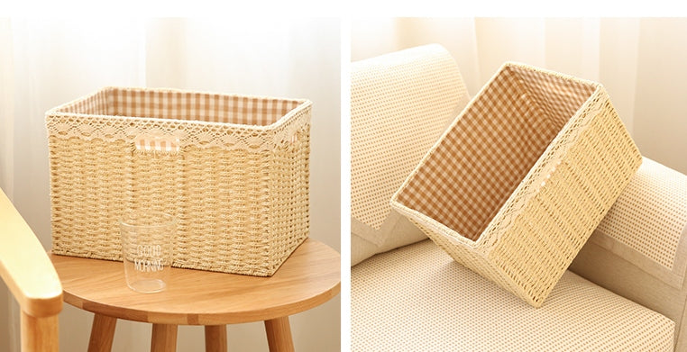 woven straw basket with lining