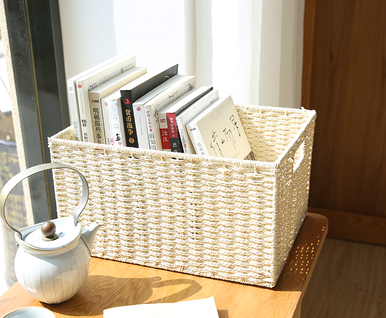 Large Brown / Cream Color Woven Straw basket