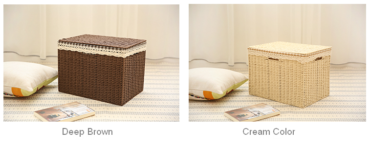 Woven Straw basket with Cover