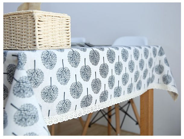 Milky White Rectangle Tablecloth, Round Tablecloth