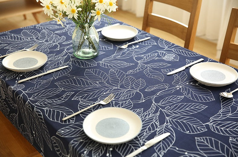 Navy Blue Leaves Table Cloth