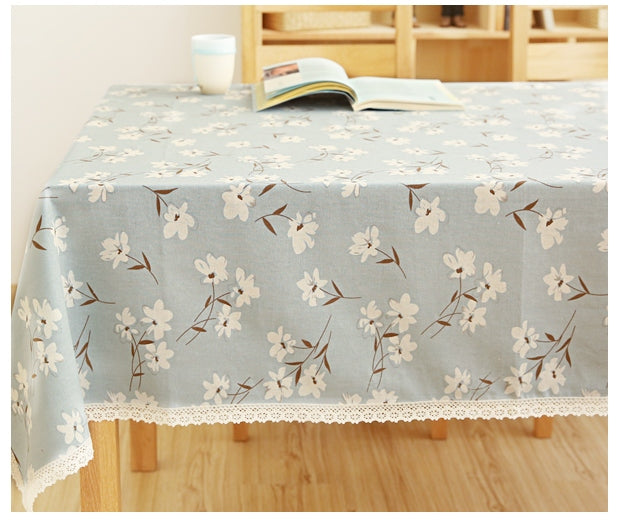 Cotton Light Blue Lily Tablecloth