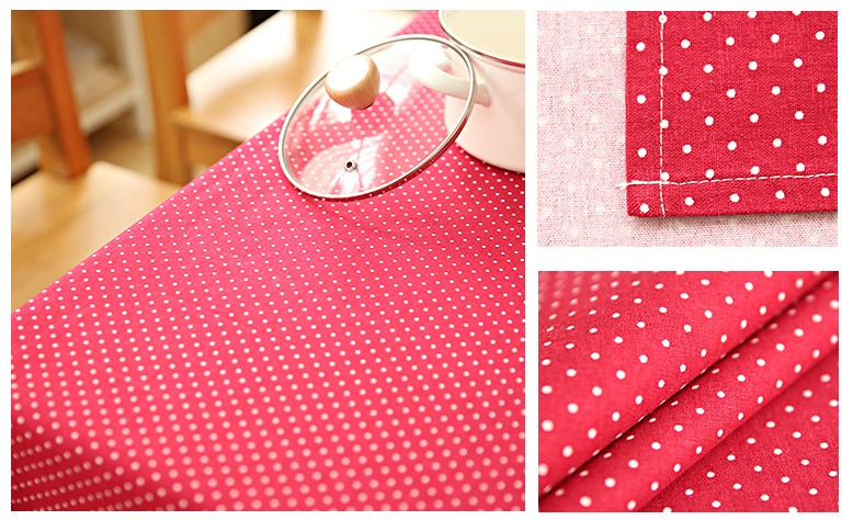 Small Dots Red Rectangle and Round Tablecloth