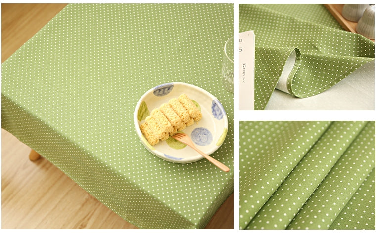 Small Dots Green Rectangle and Round Tablecloth