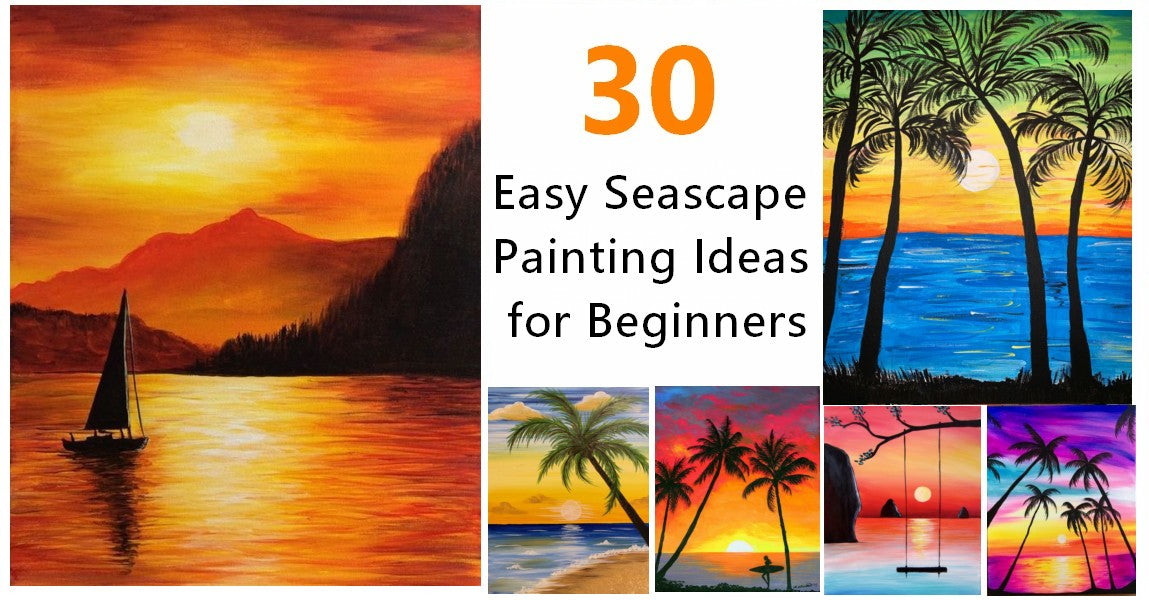 30 Easy Seascape Painting Ideas for Beginners, Easy Sunrise Paintings, Boat Paintings, Beach Paintings, Easy Sunset Paintings, Simple Landscape Painting Ideas