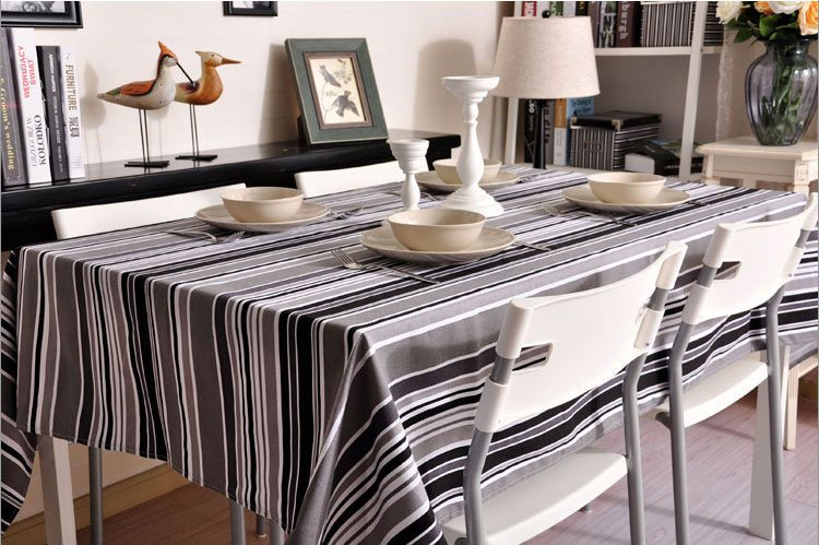Black and White, Gray Stripe Sailcloth Tablecloth, Table Cloth, Dining Kitchen Table Cover - Silvia Home Craft