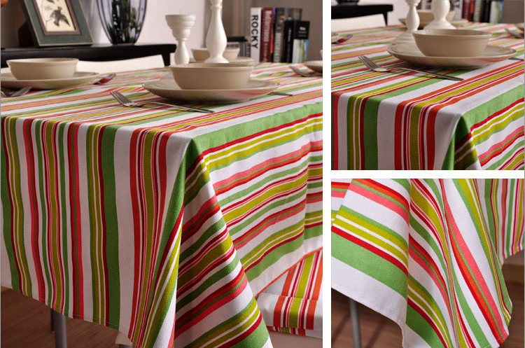 Spring Green Orange Stripe Sailcloth Tablecloth