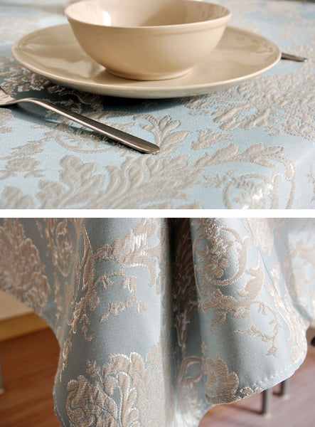 Jacquard Tablecloth, Large Flax Table Cloth, Luxury Table Decor, Linen Table Cover - Silvia Home Craft
